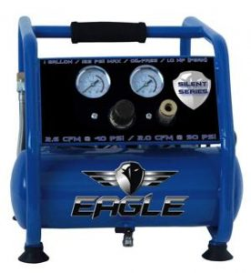 Eagle EA-3000 Silent Series 3000 Air Compressor 125 MAX psi Hot Dog with panel, Blue, 1 gallon