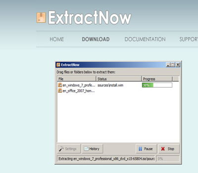 ExtractNow file archiver