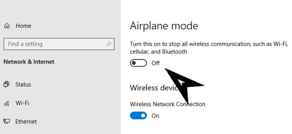 turn off the airplane mode