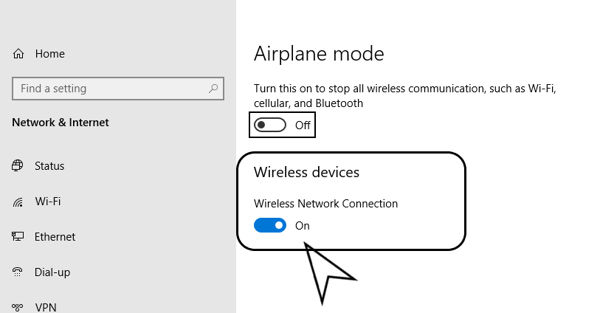 Turn on Wireless devices option
